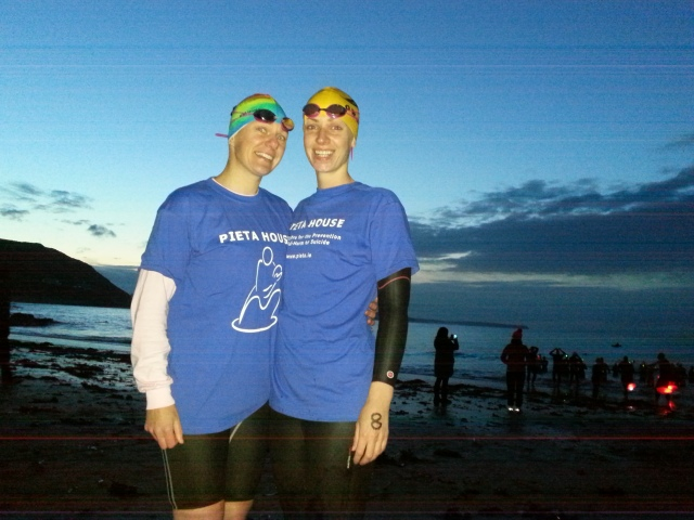 "It all started with a phone call from Angela to me - ""Hey, we should do a DIL swim instead of a run""... and so we made it happen. :)"